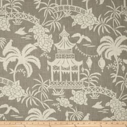 Tempo Moon Pagoda Linen Toile Chateau Gray Fabric