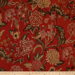 Thibaut Palermo Floral Basketweave Red Fabric