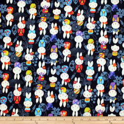 Trans-Pacific Textiles Anime Usagi Bunny Black Fabric