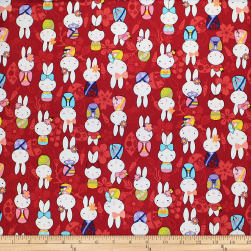 Trans-Pacific Textiles Anime Usagi Bunny Red Fabric