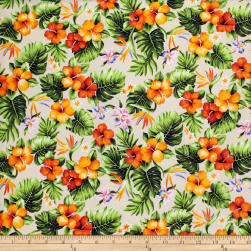 Trans-Pacific Textiles Tropical Mini Floral Bouquet Beige Fabric