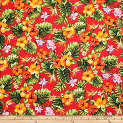 Trans-Pacific Textiles Tropical Mini Floral Bouquet Red Fabric