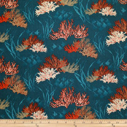 Trans-Pacific Textiles Endangered Reef Dark Teal Fabric