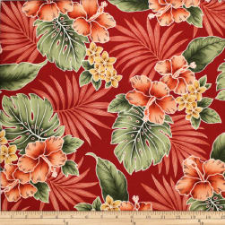 Trans-Pacific Textiles Tropical Hibiscus Mixer Red Fabric