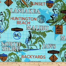 Trans-Pacific Textiles Surftown Hot Spots Turquoise Fabric