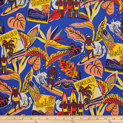 Trans-Pacific Textiles Surftown Nostalgic Aloha Royal Fabric