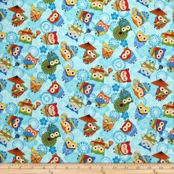 Trans-Pacific Textiles Anime Fukuro Owl Blue Fabric