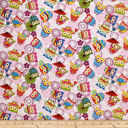 Trans-Pacific Textiles Anime Fukuro Owl Pink Fabric