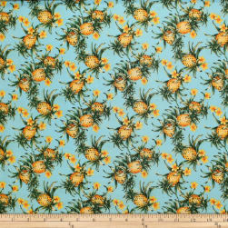 Trans-Pacific Textiles Tropical Micro Pineapples Turquoise Fabric