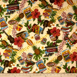 Trans-Pacific Textiles Hawaiian Snacks Beige Fabric