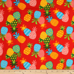 Trans-Pacific Textiles Keiki Pineapple Bonanza Red Fabric