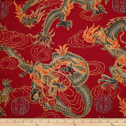 Trans-Pacific Textiles Asian Good Luck Dragon withGold