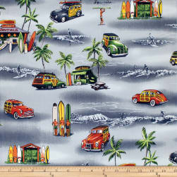 Trans-Pacific Textiles Waikiki Surf Shack Gray Fabric