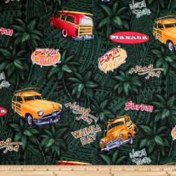 Trans-Pacific Textiles Retro Woodies Green Fabric