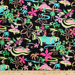 Trans-Pacific Textiles Groovy Hula Girls Black Fabric