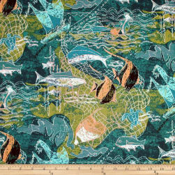 Trans-Pacific Textiles Ancient Ways Thrownet Teal Fabric