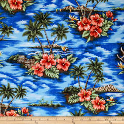 Trans-Pacific Textiles Scenic Deserted Paradise Blue Fabric