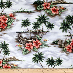 Trans-Pacific Textiles Scenic Deserted Paradise Gray Fabric