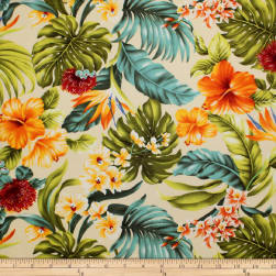 Trans-Pacific Textiles Tropical Hawaiian Rainforest Beige Fabric