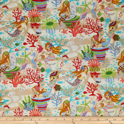 Trans-Pacific Textiles Anime Under the Sea Beige Fabric