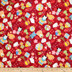 Trans-Pacific Textiles Anime Child Memories Red Fabric
