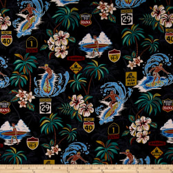 Trans-Pacific Textiles Surftown Big Wave Warning Black Fabric