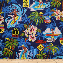 Trans-Pacific Textiles Surftown Big Wave Warning Blue Fabric