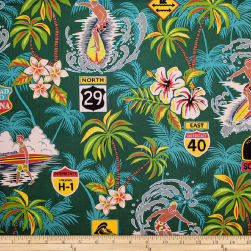 Trans-Pacific Textiles Surftown Big Wave Warning Jade