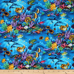 Trans-Pacific Textiles Sealife Reserve Turquoise Fabric