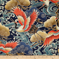 Trans-Pacific Textiles Asian Tsuru in Flight Navy Fabric