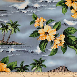 Trans-Pacific Textiles Lost in Paradise Gray Fabric