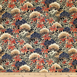 Trans-Pacific Textiles Asian Bamboo Leaves Black Fabric