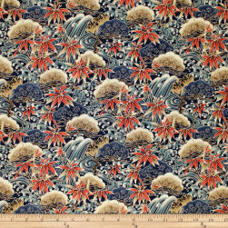 Trans-Pacific Textiles Asian Bamboo Leaves Navy Fabric