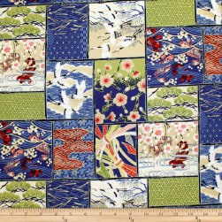 Trans-Pacific Textiles Asian Patch Blocks Navy Fabric