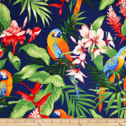 Trans-Pacific Textiles Tropical Hangloose Parrots Navy Fabric