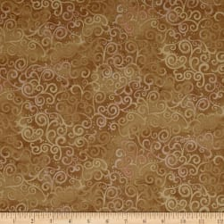 QT Fabrics Basics Ombre Scroll Blender Camel Fabric