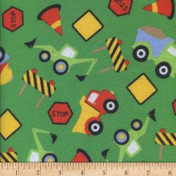 Printed Flannel Construction Zone Green Fabric