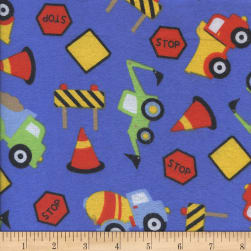 Printed Flannel Construction Zone Royal Fabric