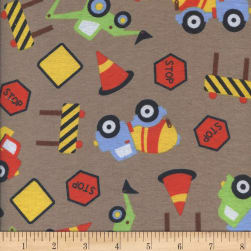 Printed Flannel Construction Zone Tan Fabric