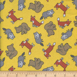 Printed Flannel Foxy Friends Yellow Fabric