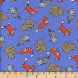 Printed Flannel Foxy Friends Blue Fabric