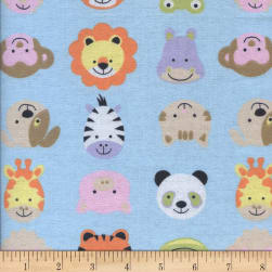 Printed Flannel Funny Face Blue Fabric