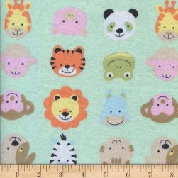 Printed Flannel Funny Faces Mint Fabric