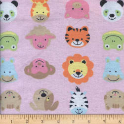 Printed Flannel Funny Face Pink Fabric