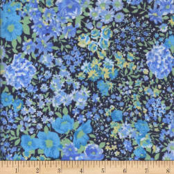 Printed Flannel Garden Blue Fabric