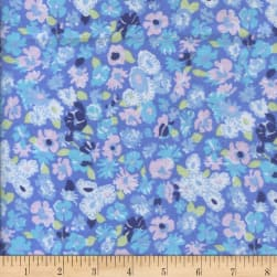 Printed Flannel Meryl Blue Fabric