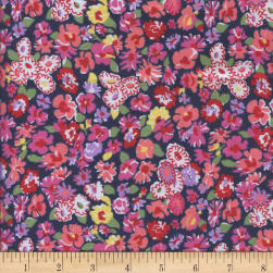 Printed Flannel Meryl Navy Fabric