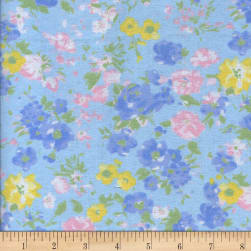 Printed Flannel Jardin Blue Fabric