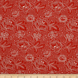 QT Fabrics Antiquities Colebrook Large Linear Floral Red