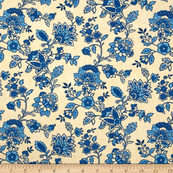 Studio E American Folk Floral Blue Fabric